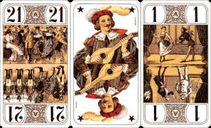 Les 3 Bouts (ou Oudlers) : Le 21, l'Excuse et le Petit (le seul Bout prenable)
